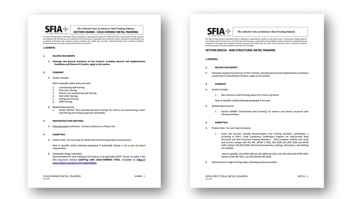 Free SFIA Guide Specifications give architects a handy way to identify out-of-date references